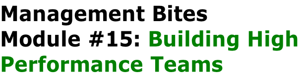 Management Bites Module #15: Building High  Performance Teams